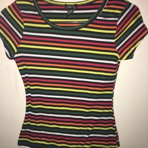 Striped Ribbed Knit Crew Neck Tee